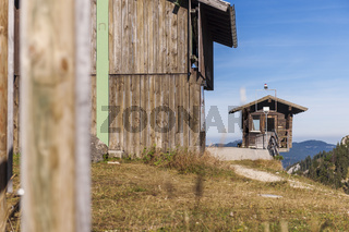 Weather station on Tegelberg with wooden hut
