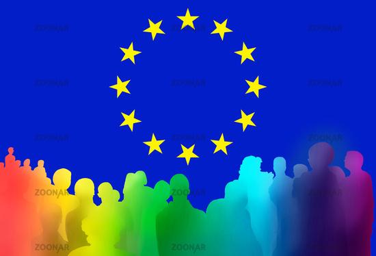 european elections, vote, citizens, people, flag, symbol, crowd