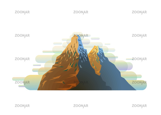 Bright colorful snowy mountain silhouette in trendy flat style on white