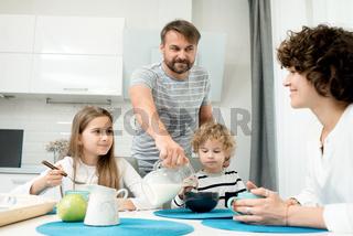 Modern Family Enjoying Breakfast