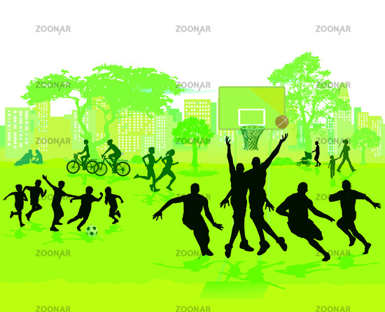 Sport and play in the summer in the park