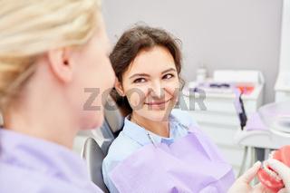 ZFA erklärt Patientin die geplante Behandlung