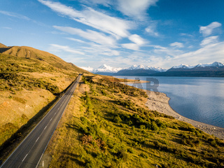 Scenic road by Lake Pukaki