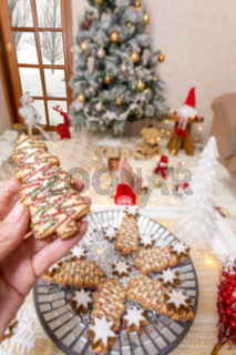 Decorated and iced Christmas cookies