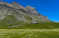 Alp Anzeindaz with mountain inn Refuge Giacomini Anzeindaz, Anzeinde, Bex, Vaud, Switzerland