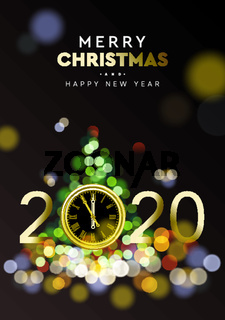 Merry Christmas and Happy New Year 2020 - Shining background with gold clock and Christmas tree sparkle blur bokeh effect, vector illustration.