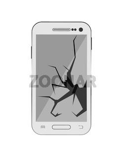 Smartphone with broken screen, faulty smartphone