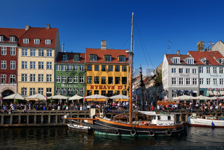 touristic distric nyhavn in capital of denmark copenhagen