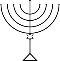 Menorah for Hanukkah, Vector illustration. Religion icon.