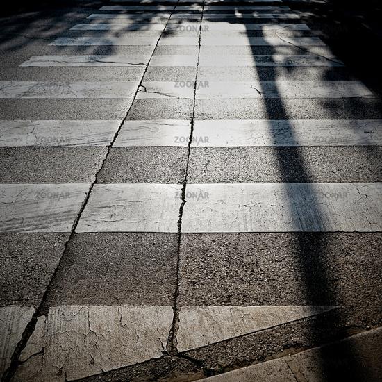 Zebra crossing in backlight in the old town of Porec in Croatia
