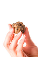 Young woman holding white truffles.