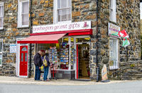 Beddgelert / Wales - May 03 2018 : Tourists enjoying the traditional town
