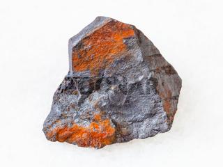 rough Hematite ore on white