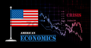 American economy vector illustration with USA flag and business graph, stock market bar graph bull market, downtrend graph symbolizes crisis American economy vector illustration with USA flag and business graph, stock market bar graph bull market, downtre