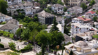 Aerial panoramic view to Gjirokaster city, Albania