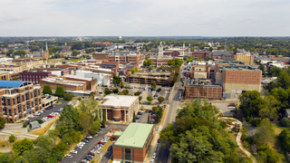 Aerial View over the Buildings and Infrastructure in Clarksville Tennessee