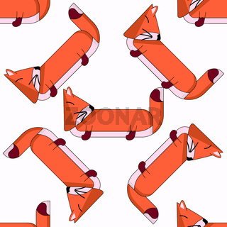 Vector seamless pattern with cute cartoon foxes5