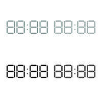 Digital clock face icon outline set grey black color
