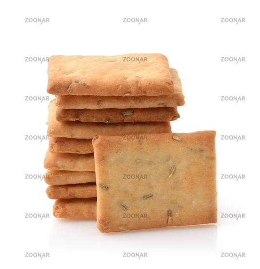 Stack of garlic, rosemary and sea salt crackers