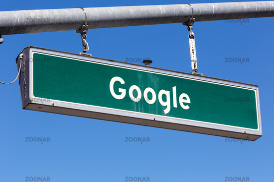 Google street sign at headquarter headquarters HQ Mountain View