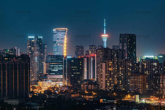 Chengdu downtown skyline aerial view at night