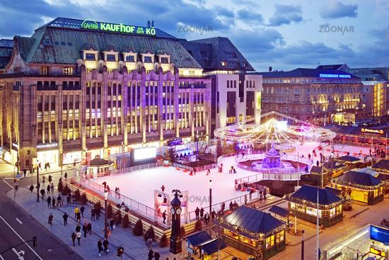 Ice rink at Koenigsallee, Duesseldorf, North Rhine-Westphalia, Germany, Europe