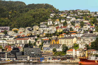 Houses Around The Harbour, Bergen Norway