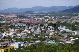Blick über Phuket Town, gesehen vom Khao Rang Hill, Phuket, Thai