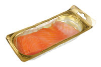 Smoked salmon fillet in sealed standard plastic packaging isolated
