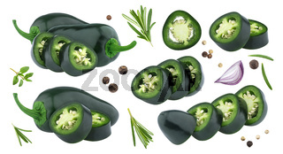 Jalapeno pepper isolated on white background with clipping path