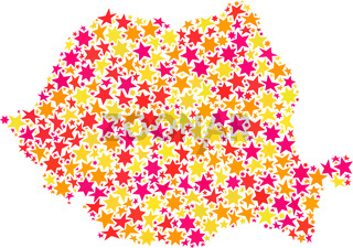 Star Collage Map of Romania