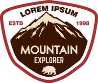 Mountain tourism emblem. Design element for logo