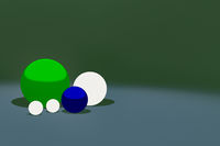 Different colored balls in different size, 3D illustration
