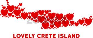 Vector Love Crete Island Map Composition of Hearts