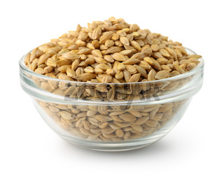 Glass bowl of barley grains