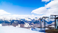 Mountains in winter, slopes and pistes, Livigno village, Italy, Alps