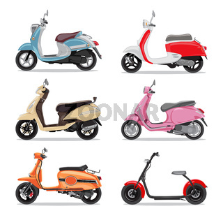 Set of colorful moped in flat style side view.