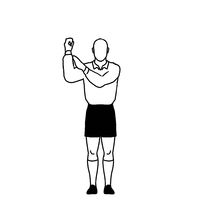 Rugby Referee penalty knock on Hand Signal Drawing Retro
