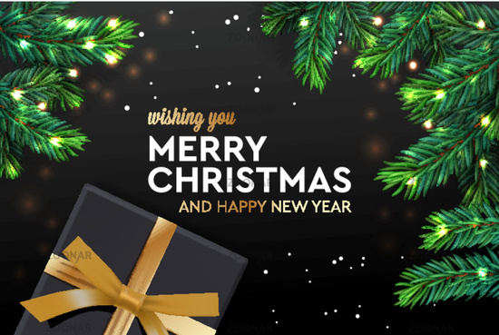 Merry Christmas and Happy New Year. Christmas poster, greeting card, header, website, vector illustration.