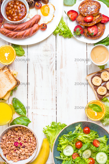 Different types of breakfast background