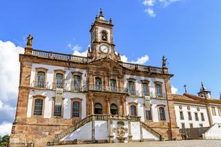 Old 18th century building in colonial architecture in Ouro Preto