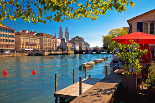 Zurich waterfront landmarks autumn colorful view