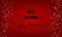 Christmas and New Year typographical on red background with Gold glitter texture.