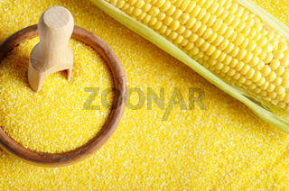 Top view of Ripe fresh organic sweet corncob and wooden bowl with scoop closeup on grits background