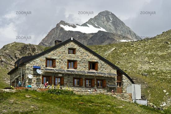 Mountain hut Chanrion Hut, Val de Bagnes, Valais, Switzerland