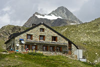Mountain hut Chanrion Hut, Val de Bagnes, Valais, Switzerland
