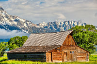 Old barn in Grand Teton Mountains