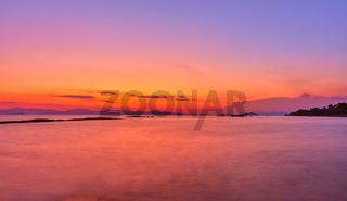 Aegean Sea in Aegina Island at twilight