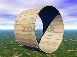 Holzröhre aus Latten mit Stahlreifen