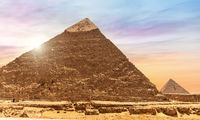The Pyramid of Chephresn detailed view, sunny day in Giza